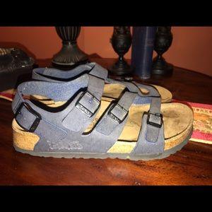 Birkenstock Birkis birks blue leather sandals 6